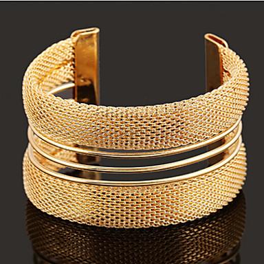 Mulheres Bracelete Largo Vazado Pulseiras Algema - Dourado