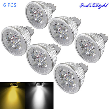 YouOKLight 6pcs 4 W 320-350 lm GU5.3(MR16) LED Spotlight MR16 4 LED Beads High Power LED Dimmable / Decorative Warm White / Cold White 12 V / 6 pcs / RoHS