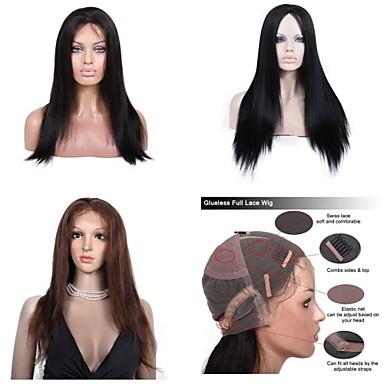 Ekte hår Helblonde / Blonde Forside Parykk Rett 130% / 150% tetthet Naturlig hårlinje / Afroamerikansk parykk / 100 % håndknyttet Kort / Medium / Lang Dame Blondeparykker med menneskehår