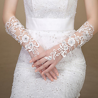 Lace Elbow Length Glove Bridal Gloves Party/ Evening Gloves With Rhinestone