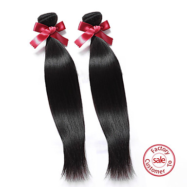 EVET 7A Unprocessed Virgin Hair Straight 2 Bundles/Lot Human Hair Weft Malaysian Remy Straight Hair Weave 100g/pc