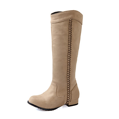 Sort / Blå / Brun / Rød / Beige-Lav hæl-Kvinders Sko-Modestøvler-Kunstlæder-Udendørs / Kontor / Hverdag-Støvler