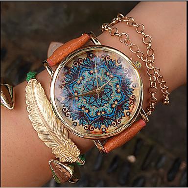Mulheres Relógio de Moda Quartzo Relógio Casual PU Banda Amuleto Preta Branco Vermelho Marrom Cinza Cáqui