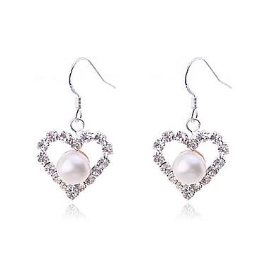 Mulheres Coração Pérola Imitação de Pérola Prata Chapeada Pérola Rosa Imitações de Diamante Brincos Compridos - Luxo Amor Coração Fashion
