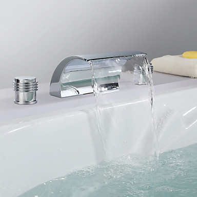 Contemporary Widespread Waterfall Ceramic Valve Three Holes Two Handles Three Holes Chrome , Bathroom Sink Faucet