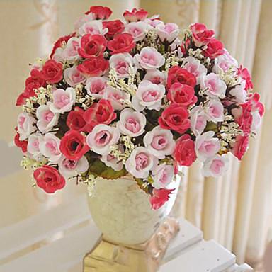 1 şube Polyester Güller Masaüstü Çiçeği Yapay Çiçekler