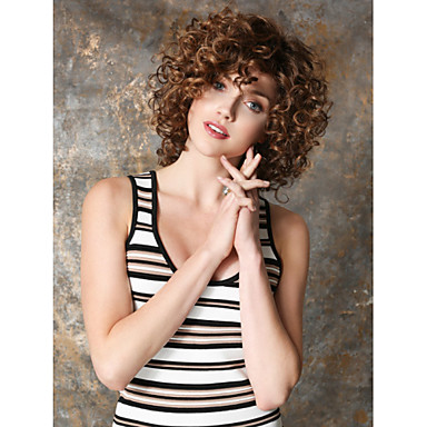 Synthetic Wig Curly / Kinky Curly Brown Synthetic Hair Women's Wig Short Capless