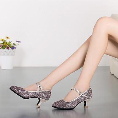 baratos Shall We® Sapatos de Dança-Mulheres Sapatos de Dança Sintético Sapatos de Dança Moderna Gliter com Brilho / Presilha Salto Salto Personalizado Personalizável Rosa / Prateado / Dourado / Espetáculo / Ensaio / Prática