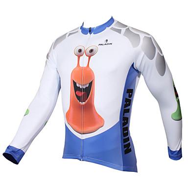 ILPALADINO Erkek Uzun Kollu Bisiklet Forması - Mavi / Beyaz Karton / Hayvan Bisiklet Forma, Hızlı Kuruma, Ultravioleye Karşı Dayanıklı,