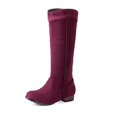 Mujer Zapatos Vellón Otoño / Invierno Confort / Botas de Moda Botas Paseo Tacón Cuadrado Dedo redondo Tirantes Trenza Marrón / Rojo / Azul