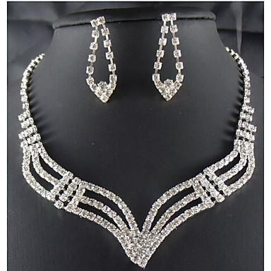 נשים סט תכשיטים חמוד מסיבה אופנתי Party אירוע מיוחד יום הולדת זירקוניה מעוקבת מצופה כסף יהלום מדומה סגסוגת Geometric Shape שרשרת עגילים