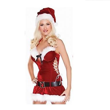 Fantasias Roupa Mulheres Apresentação Poliéster Penas/Pêlo 3 Peças Natal Vestido Cinto Chapéu