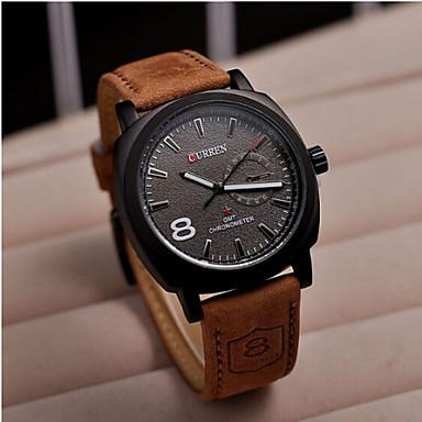 CURREN Men's Quartz Wrist Watch Hot Sale Leather Band Charm