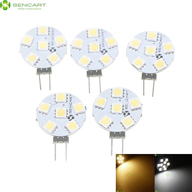 SENCART 5pcs 1.5W 3000-3500/6000-6500lm G4 LED Spotlight MR11 6 LED Beads SMD 5050 Dimmable Warm White / Natural White 12V / 5 pcs / RoHS
