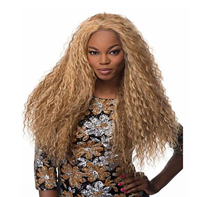 Syntetiske parykker Krøllet Blond Syntetisk hår Blond Parykk Dame Lang Lokkløs Blond