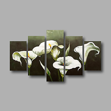 Ready to Hang Stretched Framed Hand-painted Oil Painting Canvas Wall Art White Lily Abstract Modern Five Panels