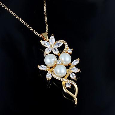 abordables Collier-Colliers Fantaisie Collier de perles Femme Perle Plaqué or Doré Doré Colliers Tendance Bijoux pour Mariage Soirée Quotidien Décontracté