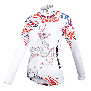 ILPALADINO Bisiklet Forması Kadın's Uzun Kol Bisiklet Forma Üstler Hızlı Kuruma Nefes Alabilir %100 Polyester Çiçek/Botanikİlkbahar Yaz