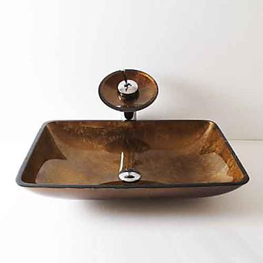 Moderna Rectângular material dissipador é Vidro Temperado Pia de Banheiro Torneira de Banheiro Anél de Instalação de Banheiro Dreno de