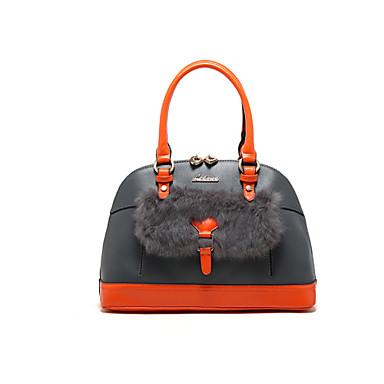 Women Bags Cowhide Shoulder Bag Tote Evening Bag Cosmetic Bag Travel Bag Fur for Wedding Shopping Casual Formal Office & Career Winter