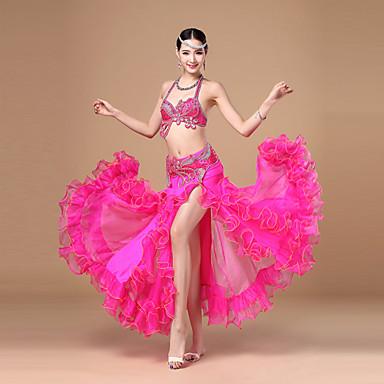 Göbek Dansı Kıyafetler Kadın's Performans Polyester Kuşaklar / Kurdeleler Fırfırlı Kolsuz Düşük Top Etek Kemer