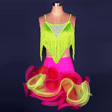 الرقص اللاتيني أزياء للمرأة أداء بوليستر / سباندكس شرابة بلايز / الالتفاف / سامبا