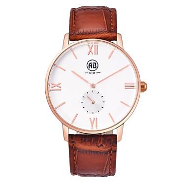 Masculino Relógio de Pulso Quartz Impermeável Couro Banda Marrom marca