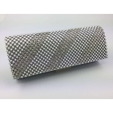 Damen Taschen Ganzjährig Andere Lederart Abendtasche Crystal / Strass für Formal Schwarz Silber