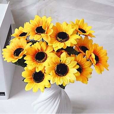 Kunstige blomster 1 Gren Pastorale Stilen Solsikker Bordblomst