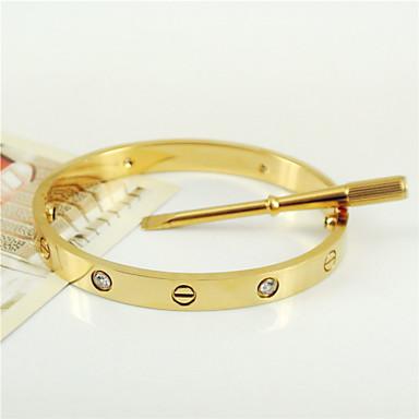 Mulheres Homens Casal Bracelete Básico Moda Personalizado Aço Inoxidável Formato Oval Jóias ParaCasamento Festa Diário Casual Presentes