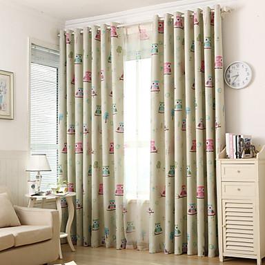To paneler Window Treatment Rustikk Moderne Neoklassisk Middelhavet Europeisk , Dyr Soverom Polyester Materiale Blackout GardinerHjem
