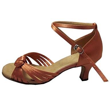 Women's Latin Shoes / Salsa Shoes Satin Sandal Indoor / Performance / Professional Customized Heel Customizable Dance Shoes Tan / Peach /
