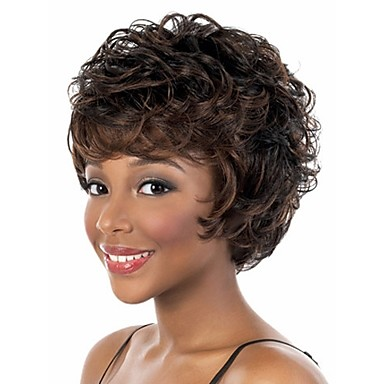 Synthetic Hair Wigs Wavy Capless Short Brown