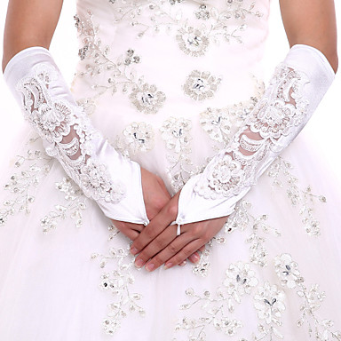 Spandex Fabric Elbow Length Glove Luxury Bridal Gloves With Embroidery Pearls Sequins