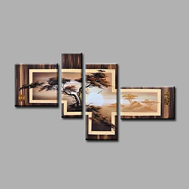 Oil Painting Hand Painted - Landscape Modern Canvas Four Panels