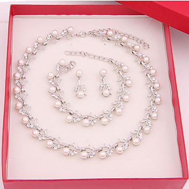 Mulheres Imitação de Pérola bijuterias Liga Colares Brincos Braceletes Para Casamento Festa Ocasião Especial Aniversário Noivado Diário
