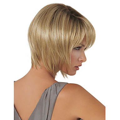 Women Medium Brown Lady Straight Short Synthetic Hair Wig