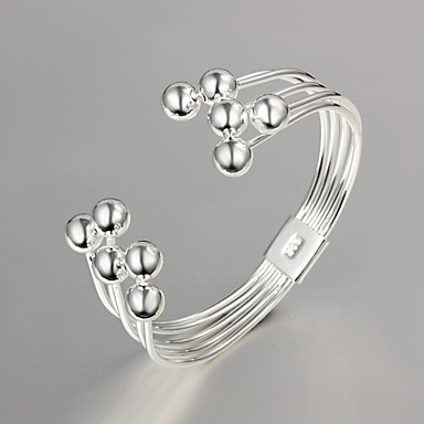 Women's Beads Bangles - Sterling Silver Unique Design, Fashion Bracelet Silver For Wedding / Party / Daily