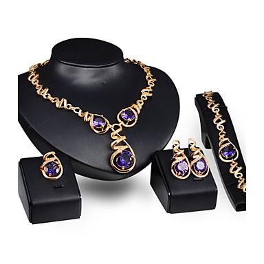 נשים סט תכשיטים וינטאג' חמוד מסיבה עבודה יום יומי שרשרת\חוליות אופנתי תכשיטים גדולים Party אירוע מיוחד יום הולדת זירקוניה מעוקבת ציפוי