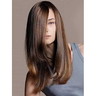 Sentetik Peruklar Düz Sentetik Saç Peruk Kadın's Orta Bonesiz