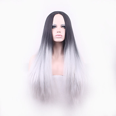Synthetic Hair Wigs Straight Capless Carnival Wig Halloween Wig Long Gray