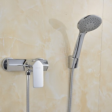 Contemporary Tub And Shower Waterfall Ceramic Valve Two Holes Single Handle Two Holes Chrome , Shower Faucet