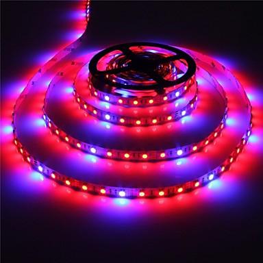billige LED Strip Lamper-zdm 1pc 5m 300 x 5050 smd ledninger forfremmelse av plantegenerert lampe fleksibel lys stripe 4 rød + 1 blå / gruppe tofarget blandet lys anleggslampe med 12v / 3a strømforsyning