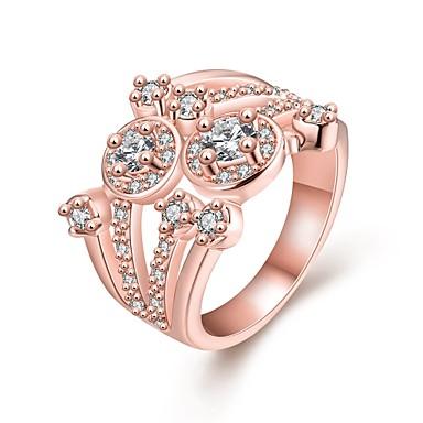 Anéis Casamento / Pesta / Diário Jóias Zircão / Rosa Folheado a Ouro Feminino Anéis Statement 1pç,7 / 8 Ouro Rose