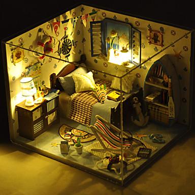 Natal brinquedo romântica do presente modelo manual casa de bonecas de madeira diy, incluindo todos os móveis luzes lâmpada led