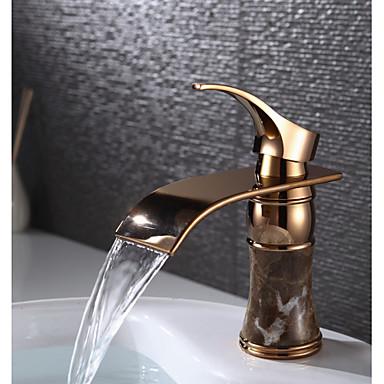 Clássica Montagem em Plataforma Cascata Válvula Cerâmica Uma Abertura Monocomando e Uma Abertura Rosa Dourado , Torneira pia do banheiro