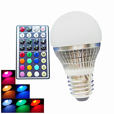 B22 E26/E27 LED gömbbúrás izzók A50 1PCS led Nagyteljesítményű LED Tompítható Távvezérlésű Dekoratív RGB 300LMlm 6500kK AC 100-240V