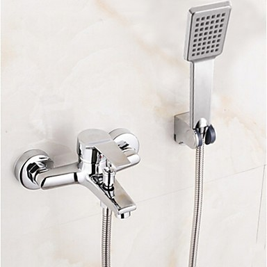 Contemporary Tub And Shower Rain Shower Handshower Included Ceramic Valve Two Holes Single Handle Two Holes Chrome, Shower Faucet Bathtub