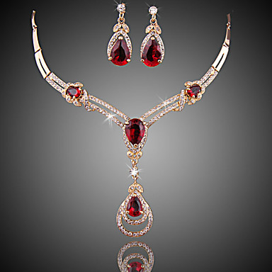 af9dc3f3b3a69 Women's Red Crystal Synthetic Ruby Jewelry Set Zircon, Cubic Zirconia, Gold  Plated Drop Ladies, Luxury, Fashion Include Drop Earrings Pendant Necklace  Red ...