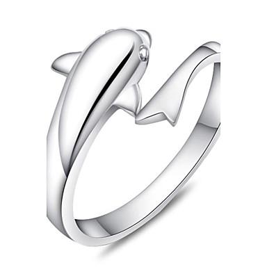 billige Motering-Dame Band Ring vikle ring tommelfingerring Sølv Delfin damer Motering Smykker Sølv Til Fest Daglig Avslappet Justerbar